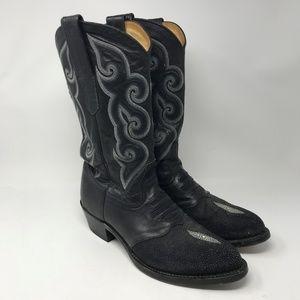 Harley Davidson Exotic Stingray Cowboy Boots 11.5